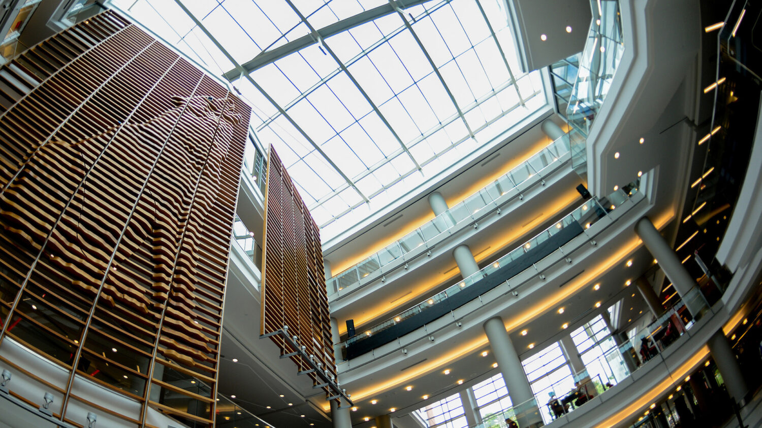 A view from the first floor lobby of Talley Student Union looking up.