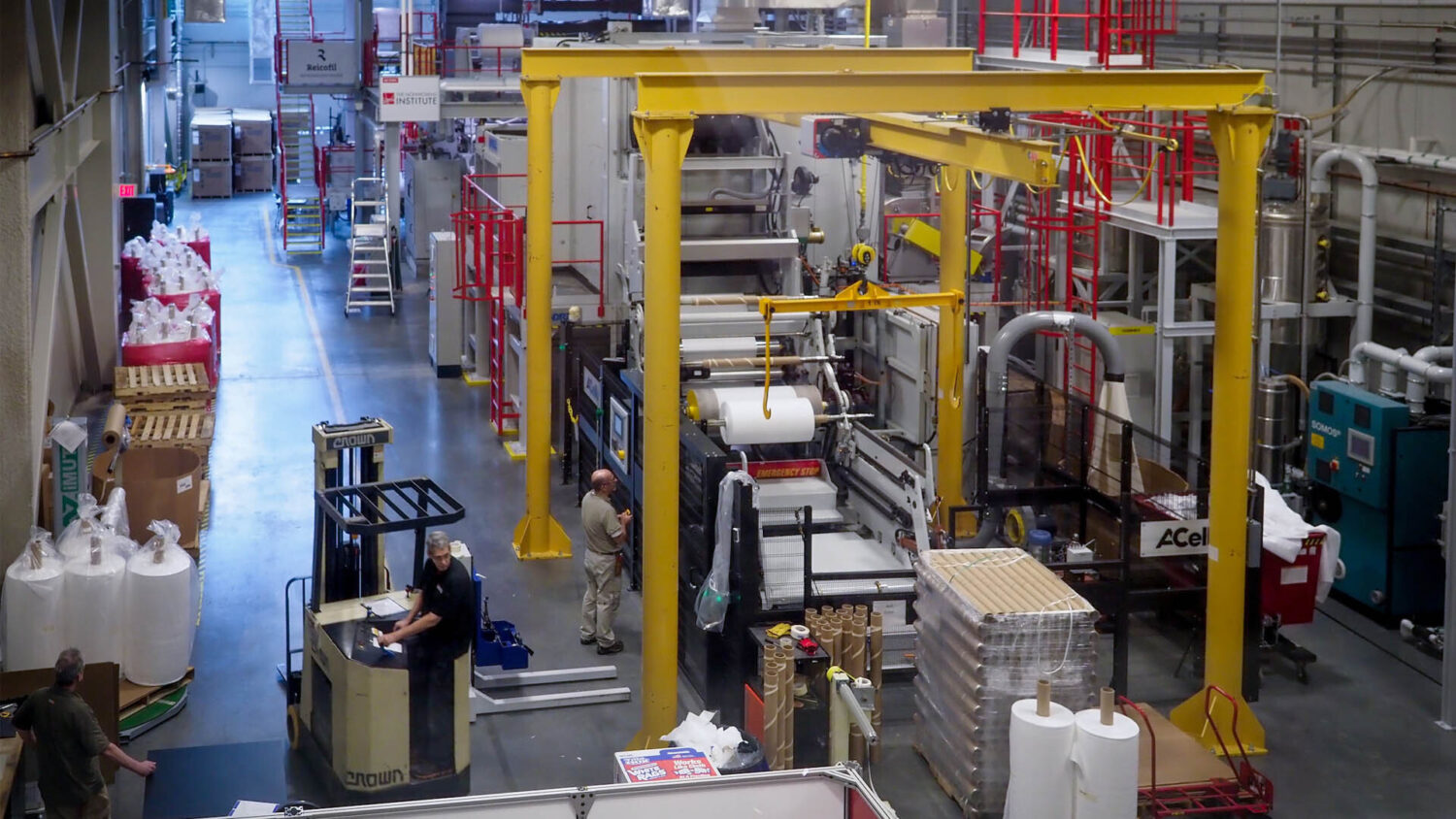 Innovative fabrics developed on NC State's campus being manufactured in an on-site facility.