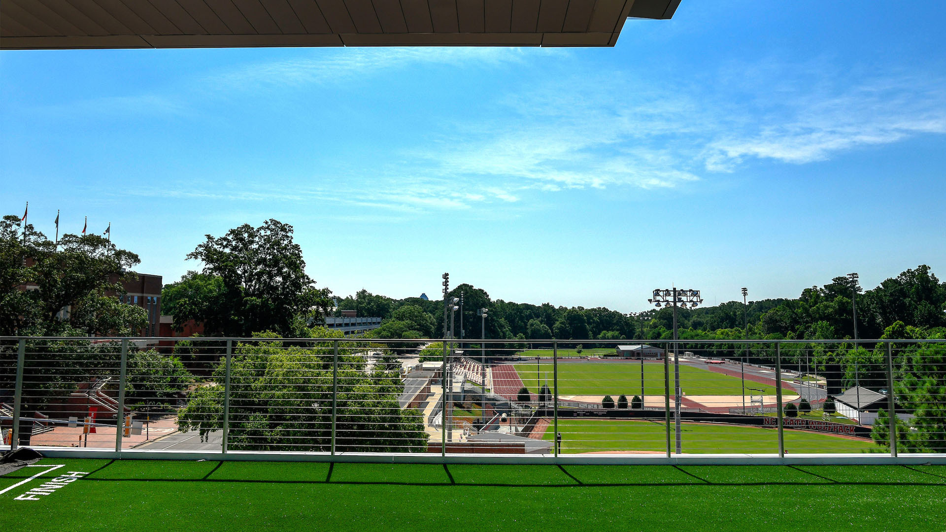 A view from Carmichael Complex overlooking nearby athletic fields.