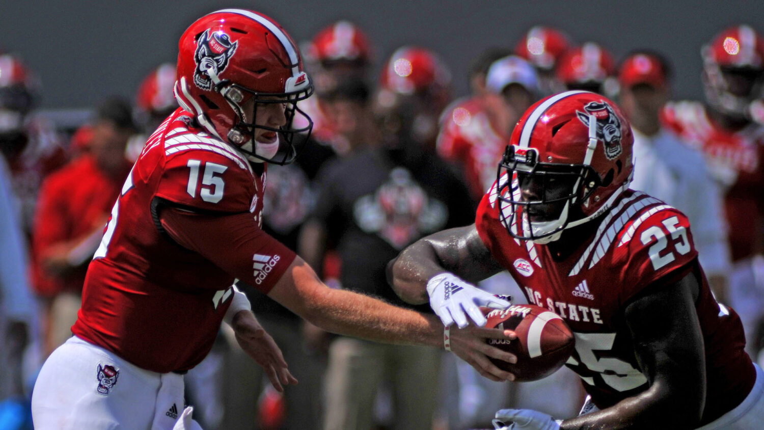 NC State football players on the field during a game.